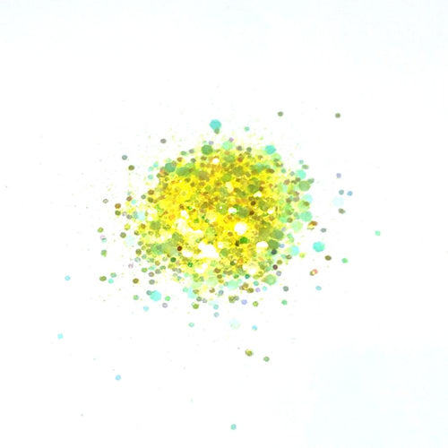 yellow iridescent nail glitter super chunky