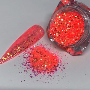 Heat wave - Chunky coral nail glitter with swatch