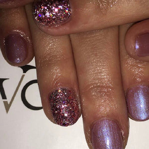 Diamond Blush nail art on nails