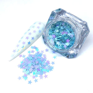star nail design in blue
