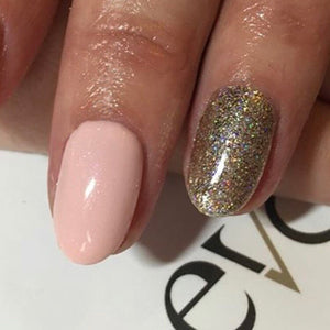 Nail design with champagne sparkle gold nail glitter