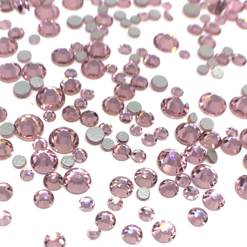 Mixed Sizes Light Rose Flatback Crystals  - 300 Crystals