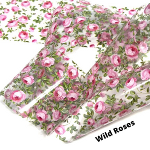 Wild roses floral nail foil