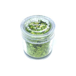 green nail glitter large jar