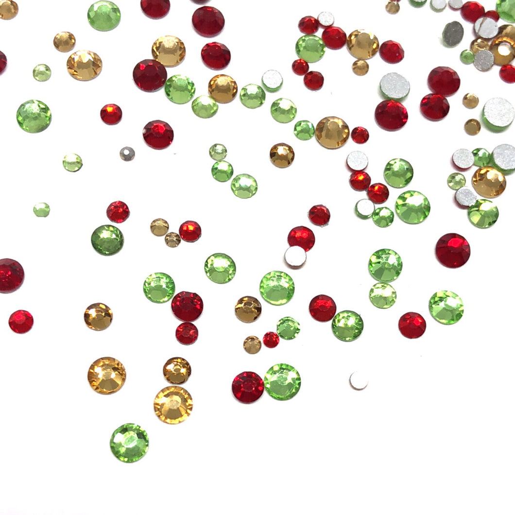 Festive Cheer Mixed Sizes Flatback Crystals  - 300 Crystals