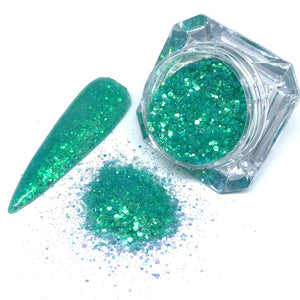 Float Your Boat - Turquoise green nail glitter in chunky mix