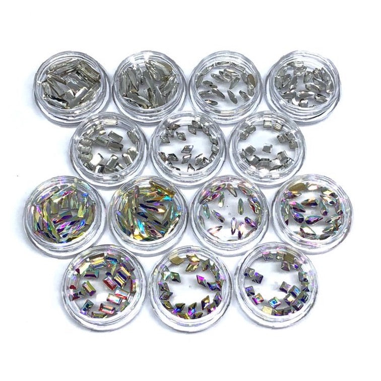 Fancy Shaped Nail Crystals in clear crystal and crystal ab in 14 jars