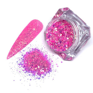 Happy hour - bright pink chunky nail glitter