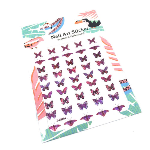 Pink Holographic Butterfly Stickers