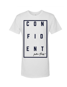 CONFIDENT Short Sleeve Long Tee (White)