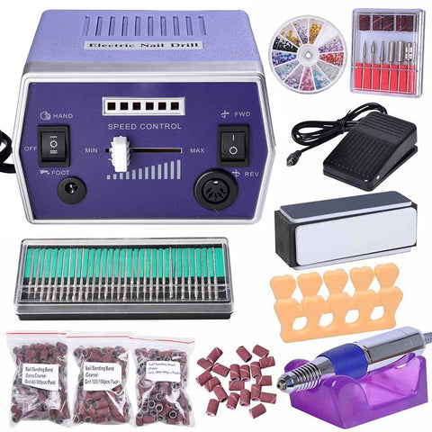 30000RPM Electric Nail Drill Machine Bits Sanding Bands Set File Polish Manicure