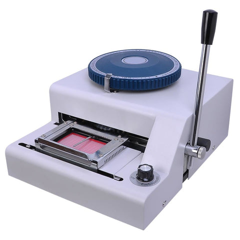 70-Character PVC Card Embosser w/ Laser Engraved Dial Stamping Machine Credit ID VIP Embossing