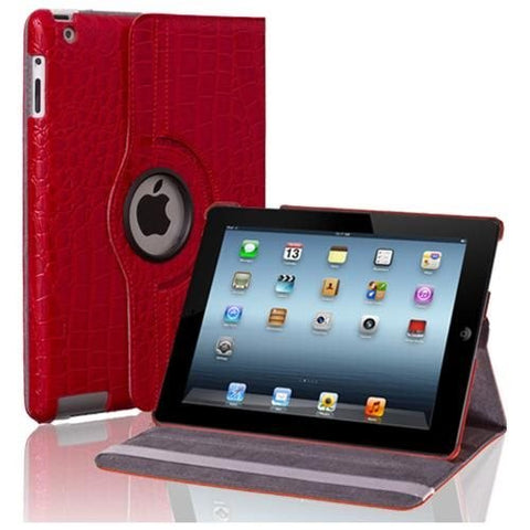 Apple iPad 4/3/2 Case - 360 Degree Rotating Stand Folio PU Leather Smart Case Cover with Automatic Wake & Sleep Feature and Stylus Holder For iPad 4th Gen , iPad 3 & iPad 2 Crocodile Pattern Red