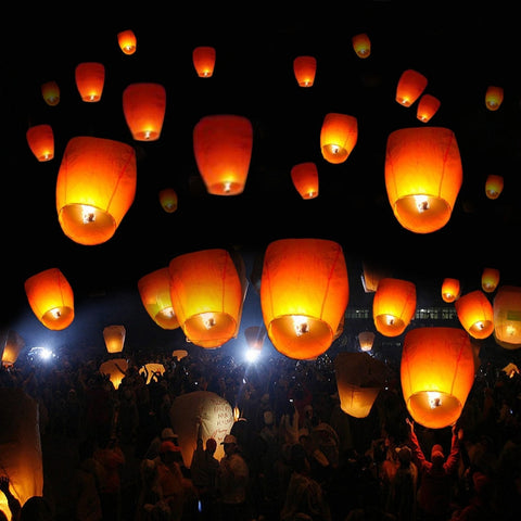 50pcs Flying Candle Sky Lanterns Paper Chinese Floating Lantern for Party Wedding White