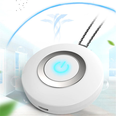 Bakeey Wearable Air Purifier Necklace Mini Portable USB Air Cleaner Negative Lon Generator Low Noise Air Freshener - White