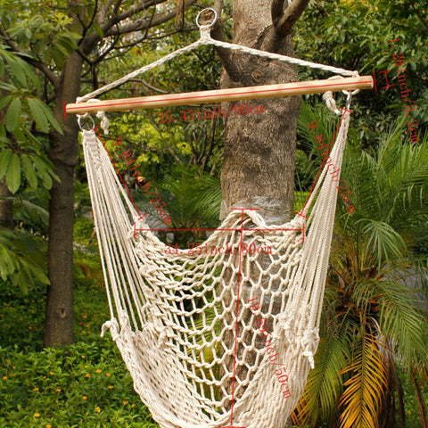 Hammock Hanging Swing Cotton Rope Chair with Wood Stretcher Outdoor