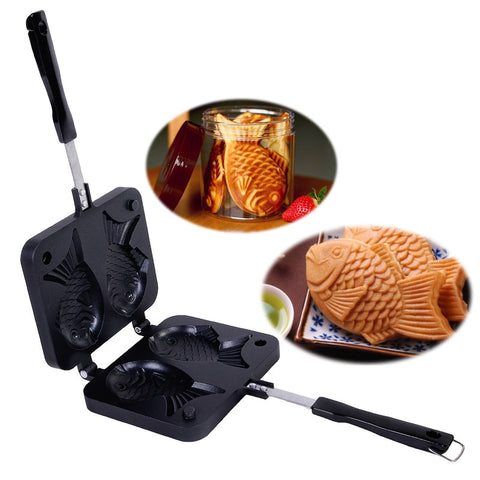 Taiyaki Japanese Fish-Shaped Bakeware Waffle Pan Maker 2 Cast Home Cake Tools