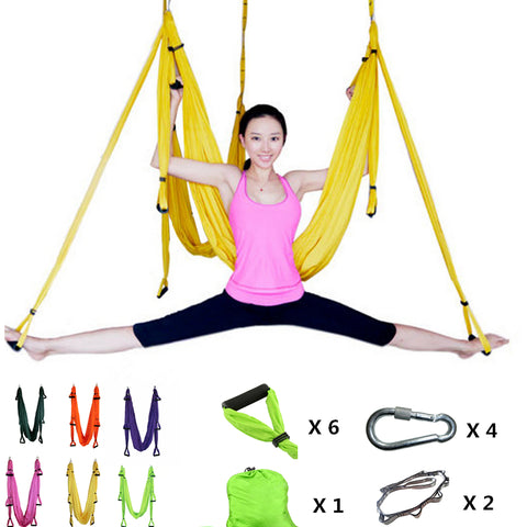 Aerial Yoga Swing - Ultra Strong Antigravity Yoga Hammock/Trapeze/Sling for Air Yoga Inversion Exercises - 2 Extensions Straps