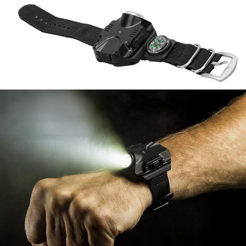 Outdoor Multi Tools Pocket Rechargeable Waterproof LED Wrist Watch Light # - Gadget Druggie