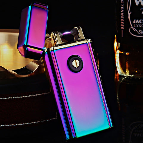 2pcs/lot 2017 new arrive USB arc lighter isqueiro for men LIGHTER smoke cigarette tool windproof lighter for man with gift box