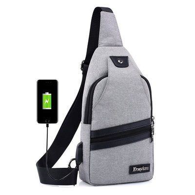 New USB Design Chest Bag Women Backpacks Men Sling Bag Crossbody One Shoulder Strap Rucksack Polyester Cross Body Travel Bags