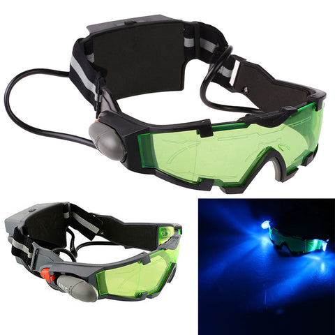 Adjustable Windproof Elastic Band Night Vision Goggles Glass Children Protection Glasses Green Lens Eye Shield With LED