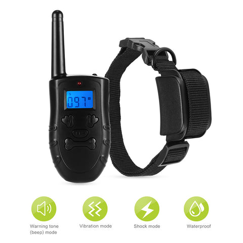 300M Remote Control Pet Dog Training Collar With 99 Levels of Vibrating & Shock with Sound / Light Mode Waterproof IP67 Rechargeable LCD Electric Remote Training Shock Collar US Plug/EU PLUG