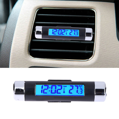 Car Thermometer Clock Calendar Auto LCD Digital Blue Light Temperature Guage Automotive Air Outlet Thermograph w/ Clip Accessory