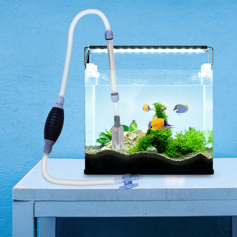 Fish Tank Cleaner Aquarium Fish Tank Manual Squeeze Water Changer Cleaner Cleaning Pump Filter Cleaning Tool(2.13m/7ft long)