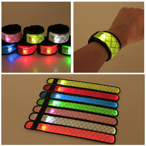 Hot Nylon LED Sports Slap Wrist Strap Band Wristband Light Flash Bracelet Glowing Armband Festive & Party Supplies LXY9 JA02