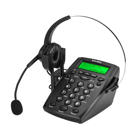 Professional Call Center Dialpad Headset Telephone with Dial Key Pad telephone RJ9 plug headset phone with Green Back Light
