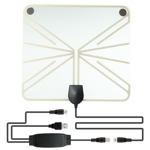 SOONHUA Amplified HDTV Antenna 50-100 Miles Range Digital Indoor TV  1080P HD Antenna Signal Amplifier Booster Transparant Style