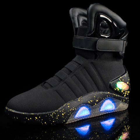 Adults USB Charging Led luminous Shoes For Men's Fashion Light Up Casual Men back to the Future Glowing Sneakers Free shipping