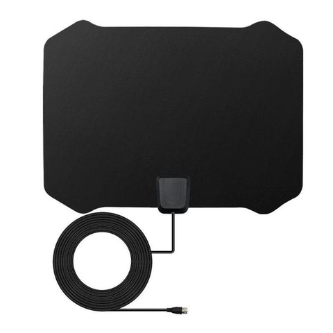 ALLOYSEED Flat Digital Indoor HDTV 1080p HD TV Antenna Fox w/Signal amplifier Coaxial Cable 50 Miles Range VHF UHF