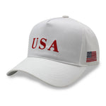 5 PANEL USA AMERICAN FLAG WHITE BASEBALL CAP HAT