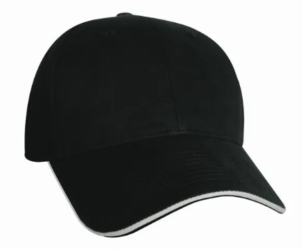 #6618S Black/Silver Sandwich Cotton Twill Baseball Cap