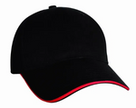 #6618S Black/Red Sandwich Cotton Twill Baseball Cap