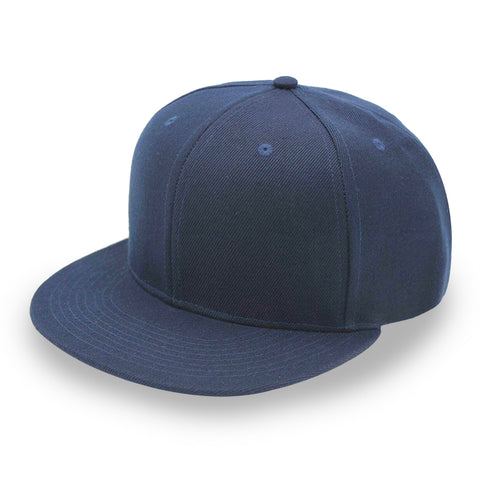 #8608 Flat Bill Navy Blue Fitted Caps