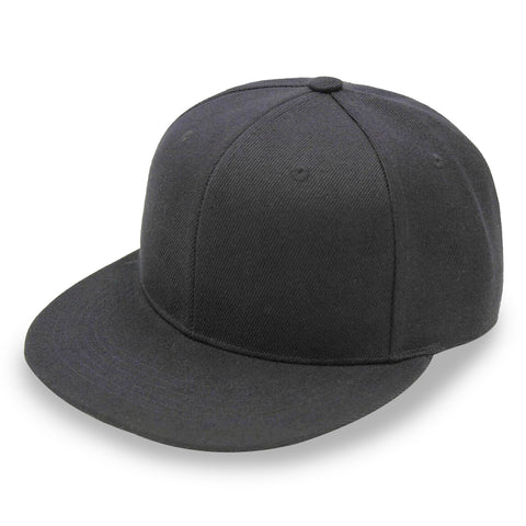 #8608 Flat Bill Black Fitted Caps