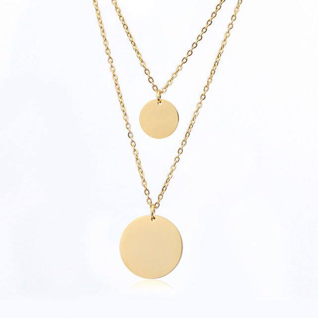 Round Coins Layered Necklaces