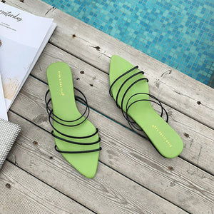 Green Pointed  slipper  sandals