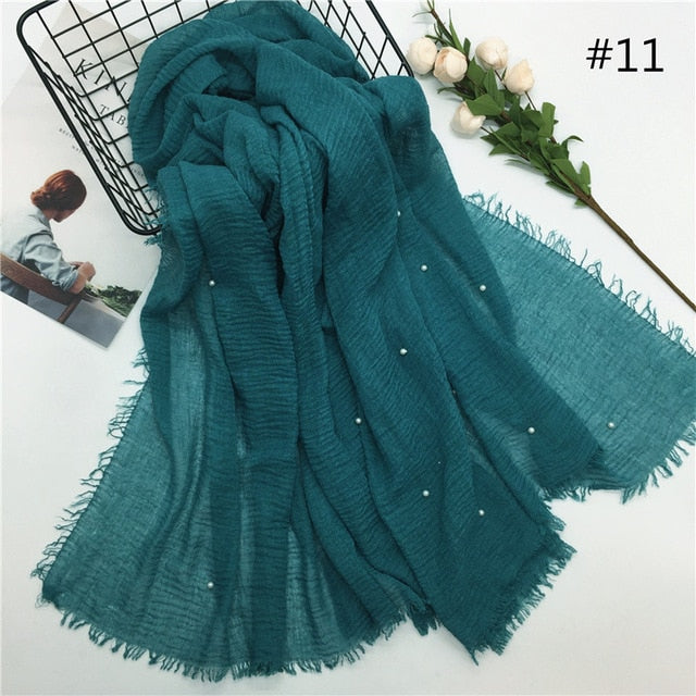 Pearl Cotton Crinkle Scarf (31 colors)