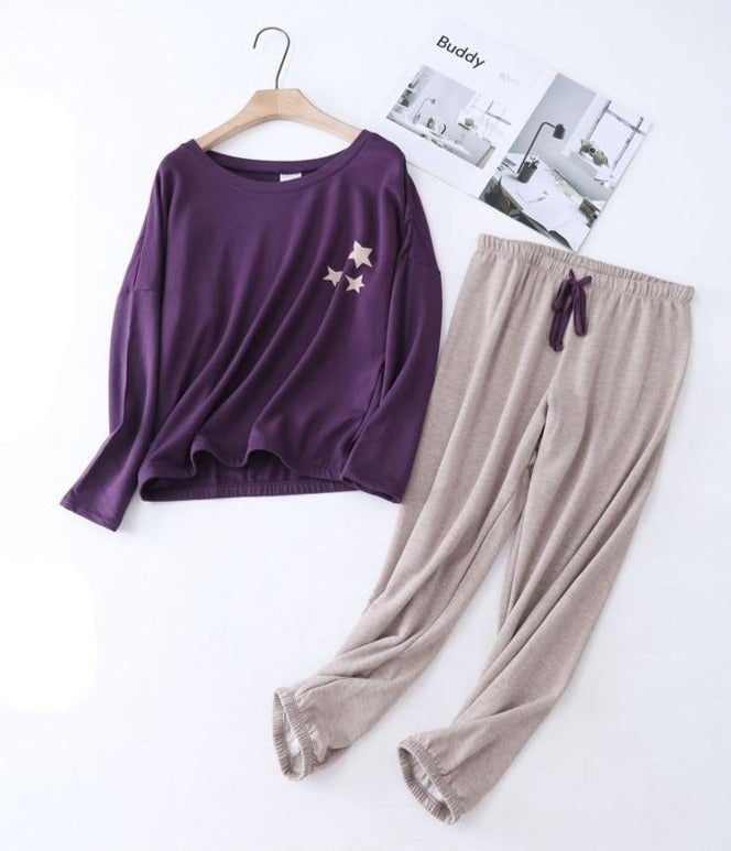 Purple Beige Star PJ set