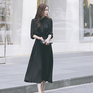 Long sleeve Waist tie pleated dress (3 Colors)