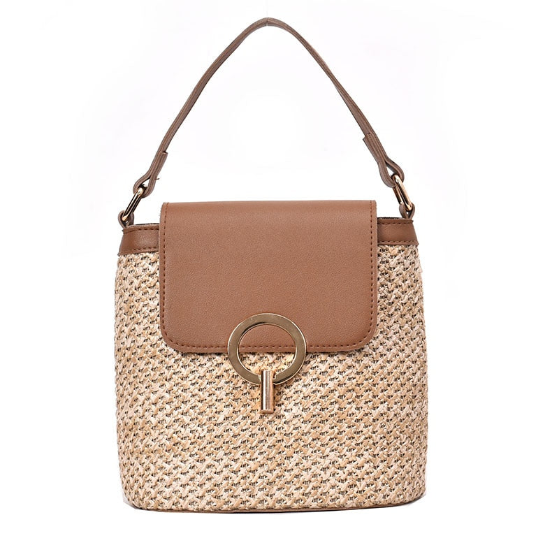 Straw bucket Shoulder bag (4 colors)