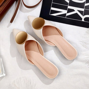 Ivory Pointed Mules