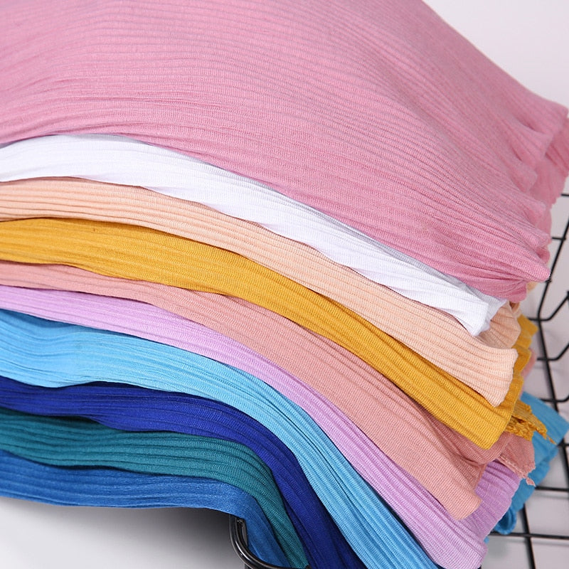 Pleated Jersey Hijab Scarf (32 colors)