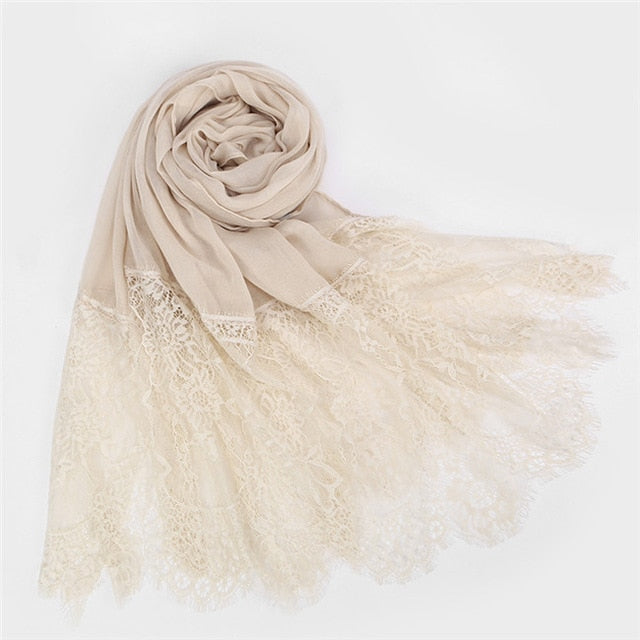 Wide lace hijabs (15 colors)
