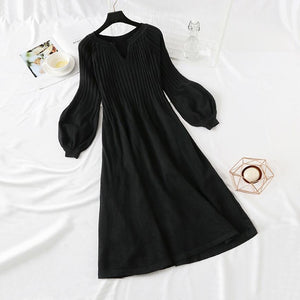 Lantern sleeve Loose Knit dress (3 Colors)