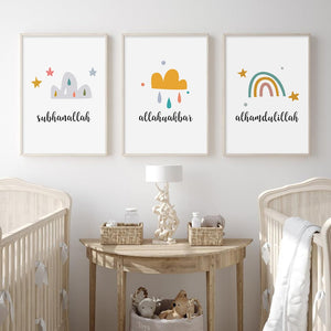 Rainbow-clouds print nursery/room home decor
